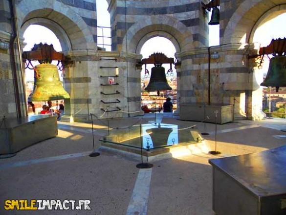 Cloches au sommet de la tour de Pise
